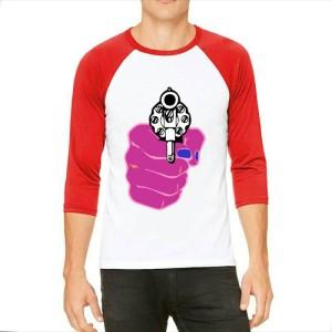 T-shirt Shoot Revolver Raglan Putih Merah