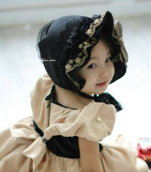 grosir black and gold lace girl hat