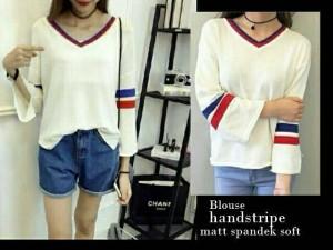 tk blouse handstripe putih 38.000