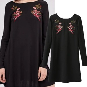 Simple Dress-Hitam Color Twin Swallow-Murah Terjangkau- 42433