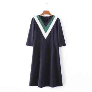 Dress V Shape Neck-Casual-Fashion Import-Trendi-Kode 42453