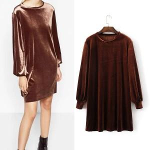 Dress Leisure Velvet-Model Sederhana-Santai-Berkualitas 42465