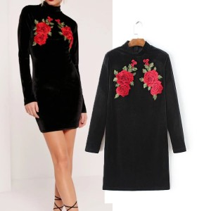 Dress Cantik-Hitam Color Twin Roses-Good Quality-Modis-Import 42409