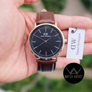 Jam Tangan Pria / Cowok / DW / Brown Gold / Leather Strap