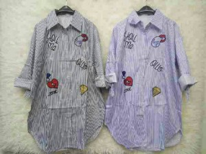 KEMEJA DRESS KATUN IMPORT LENGAN PANJANG EMBLEM - DRESS TUNIK BANGKOK