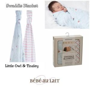 Bebe au lait Swaddle Blanket Little Owl + Tinsley - Selimut bayi