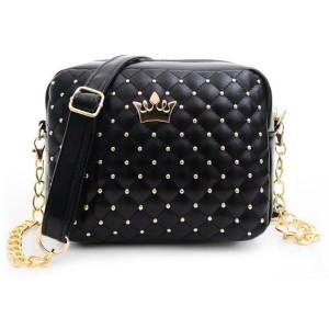 Promo Murah Tas Selempang Wanita Rivet Chain Leather Bags - Black