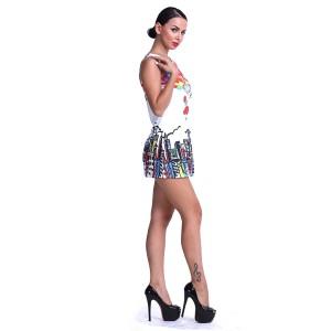 Promo Murah Dress Casual Wanita Europe Style O Neck - M - Putih
