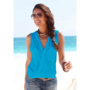Promo Murah Baju Pantai Wanita Sleeveless V Neck Beach Shirt - L -