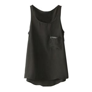 Promo Murah Tank Top U Can See Wanita Asymmetric Round Neck T-Shirt -