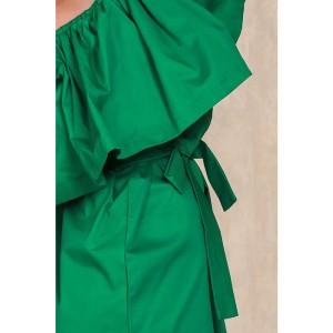 Promo Murah Dress Wanita Sabrina Ruffles Slash Neck Dress - S - Hijau