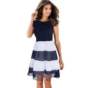 Promo Murah Dress Wanita Short Sleeve Chiffon Vintage Dress - L - Biru