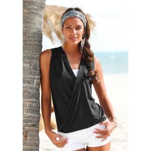 Promo Murah Baju Pantai Wanita Sleeveless V Neck Beach Shirt - S -