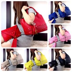Tas Fashion Santana Leather Stud 3in1 Semi Premium 7766