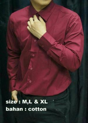 kemeja formal pria merah maroon lengan panjang 1