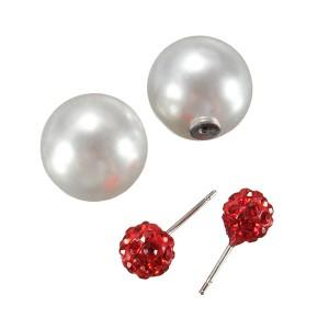 Anting bola mutiara tusuk diamond merah / Anting Dior