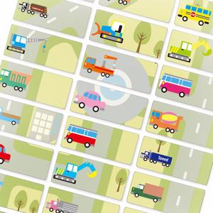 Toy Cars MEDIUM Sticker label nama waterproof Mobil cute Transport