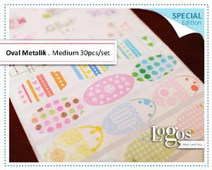 Oval Metalik MEDIUM. Special. stiker motif pattern fancy sweet flower