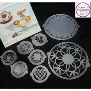 Promo Cake stencil lace isi 2 besar 6 kecil Murah Berkualitas