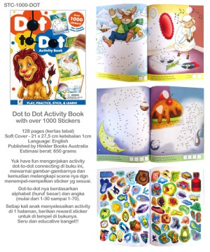 (STC-1000-DOT) Dot to Dot Activity Book with over 1000 stickers 128 pa