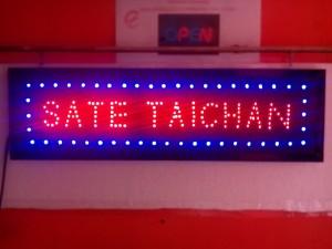 Tulisan Lampu Led Sign SATE TAICHAN warna merah -cocok buat pengusaha