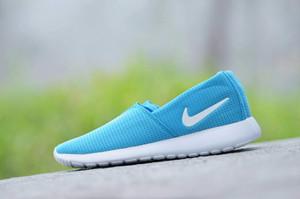 Promo Murah Sepatu Wanita Slip On Nike Roshe Run Canvas Nilon Biru