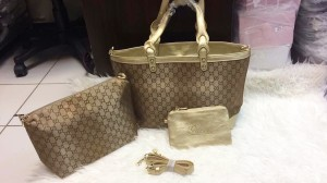 Tas Gucci tote kanvas Gold Bag in BaG, Free pouch+dompet