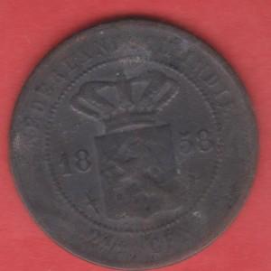 800.1 bj koin nederlansch indie 2 1/2 c 1858 u/kerokan /koleksi /asli