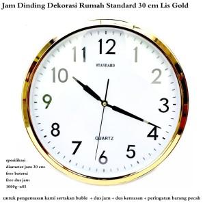 jam dinding pajangan dekorasi rumah standard 30 cm lis gold