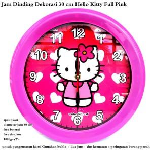 jam dinding pajangan dekorasi hellokitty 30 cm full pink