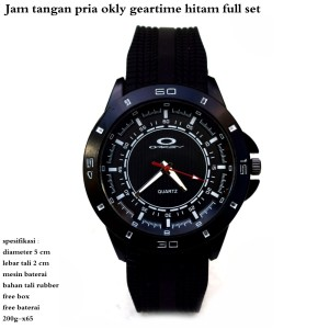 jam tangan rubber okly geartime hitam fullset