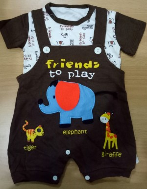 Baju Bayi Jumper/Baju Kodok Karakter Friends to play