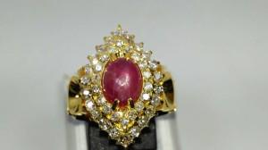 Cincin Emas Fashion Classic Berlian Banjar Ruby Star