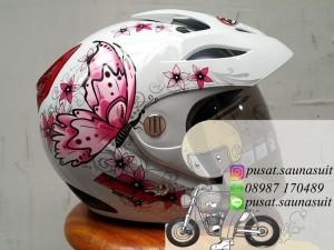 Helm RN DEW Motif Butterfly White / Kupu Kupu / Cute