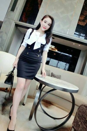 cc8046 fake two piece dress tangan panjang hitam putih collar