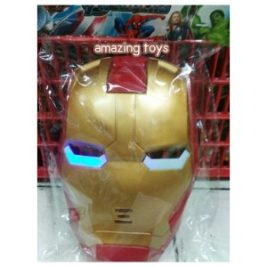 Mainan Topeng Karakter Iron Man Baterai Lampu Anak