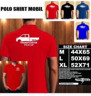 Polo Shirt Otomotif Mobil VOLKSWAGEN PICK-UP TRANSPORTER SILUET TS