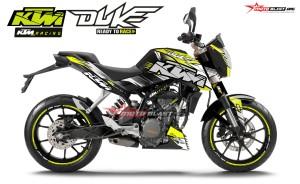 Decal stiker KTM DUKE SLASH REGENERATE Yellow Lime