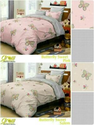 Sprei Katun Halus Motif Butterfly Pink/Salem Ukuran 160x200