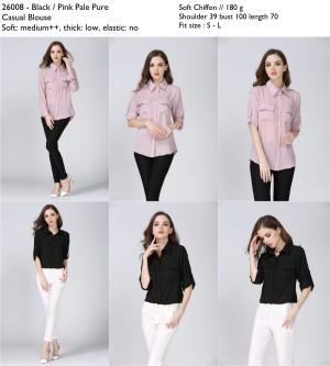 kemeja lengan panjang, hitam, pink, polos, kemeja wanita, formal impor