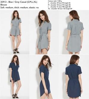 blouse dress mini, abu-abu, biru tua navy, elegan, import