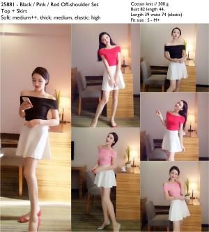 setelan wanita, baju sabrina rajut hitam merah pink, rok flare putih