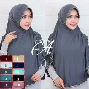 jilbab langsung polos spandek jersey kerut sisi pundak