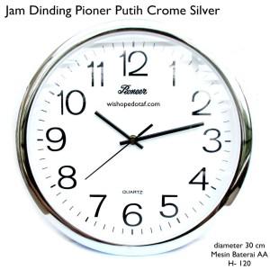 jam dinding pioner dekorasi putih crome silver 30 cm