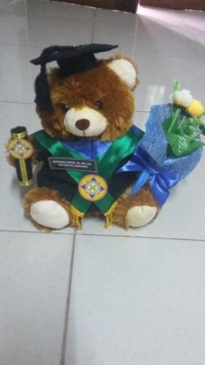 Boneka Bear Coklat Dengan Buket Bunga 27cm