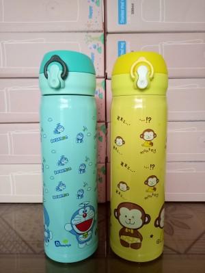 Termos Air 500 ml / Botol Minum 0,5 Liter Karakter Doraemon dan Monkey