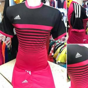 Setelan Futsal Dewasa Adidas Garis Pink Hitam / jersey sepak bola