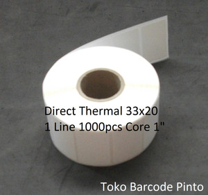 "33x20mm 1line 1000pcs,direct thermal,gap core1"",Label sticker barcode"