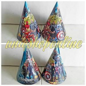 Personalized / custom topi ultah marvel avengers party cone hat