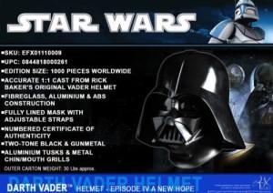 EFX Collectibles Star Wars 1:1 Limited Edition Darth Vader Helmet